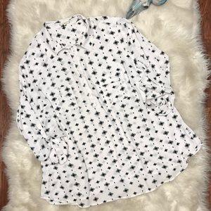 Pleione White Gray Printed Utility Shirt Blouse